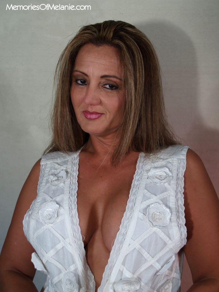 Stylish glamour photo of Melanie's deep cleavage.